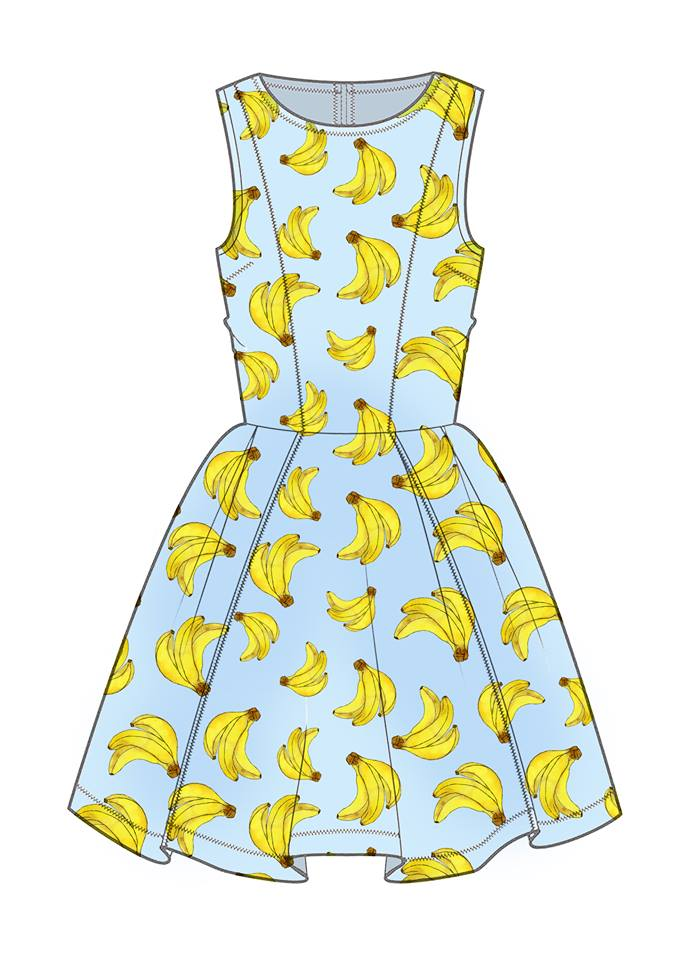 Drawn by Rhiannon banana dress